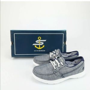 Skechers On The Go Marina Navy Boat Shoes 6 WIDE